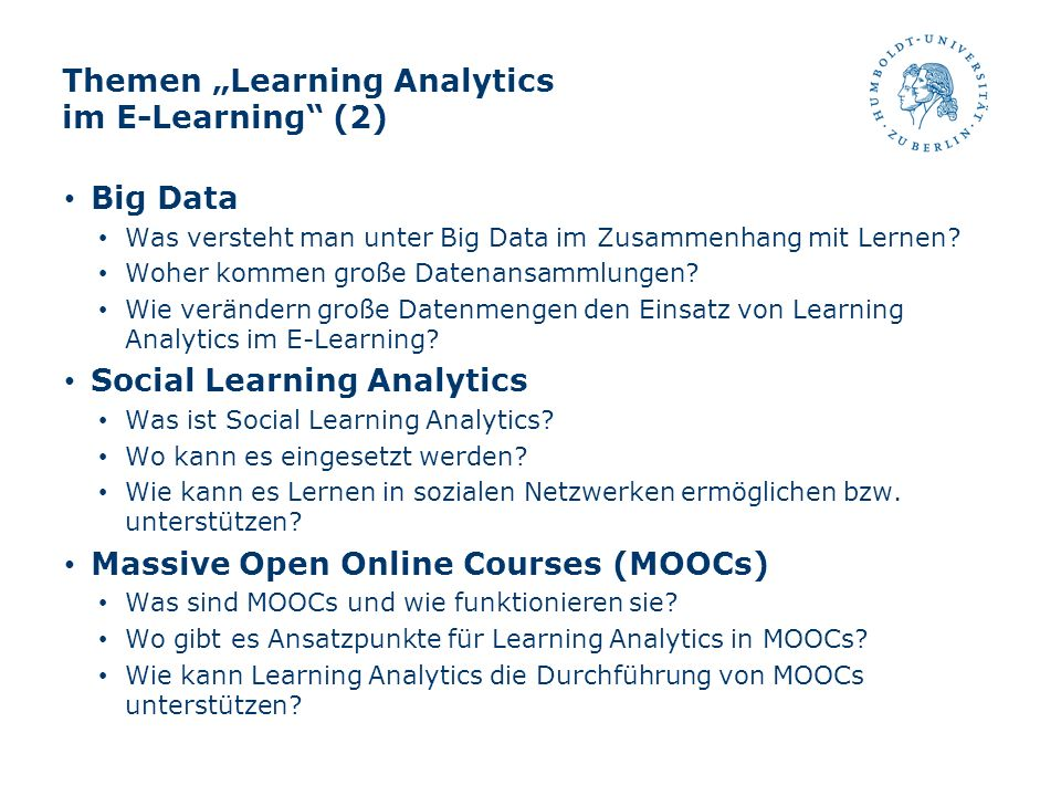 "Themen ""Learning Analytics im E-Learning (2)"