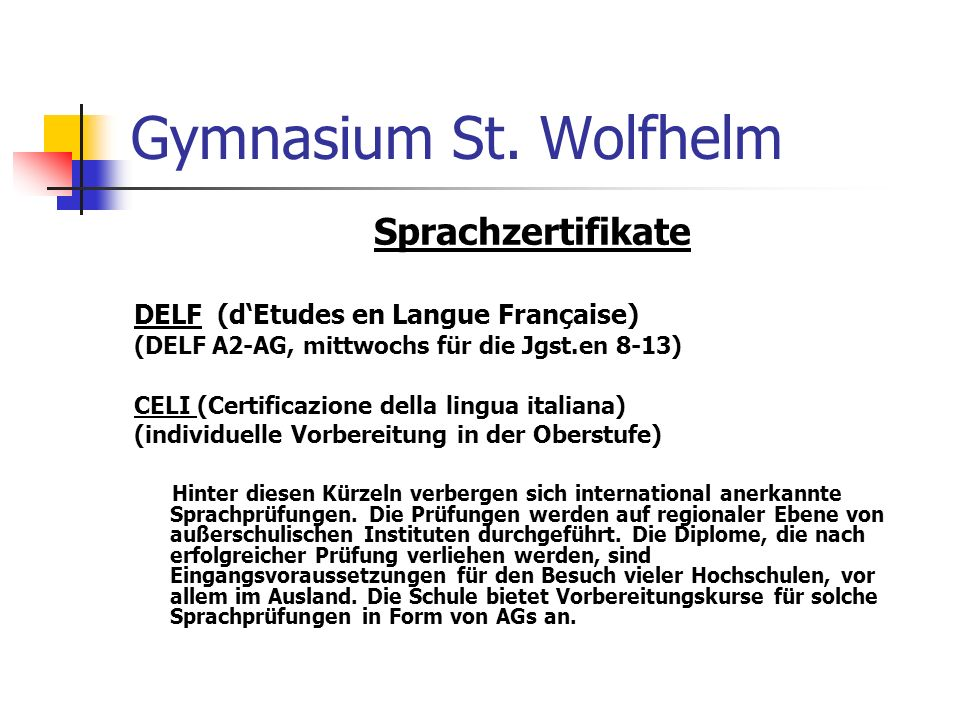 Gymnasium St. Wolfhelm Sprachzertifikate