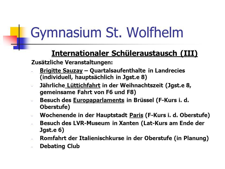 Internationaler Schüleraustausch (III)