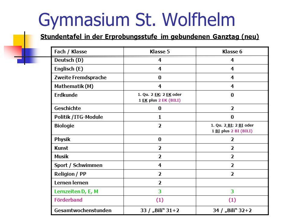 Gymnasium St. Wolfhelm Stundentafel in der Erprobungsstufe im gebundenen Ganztag (neu) Fach / Klasse.