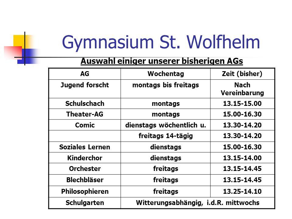 Gymnasium St. Wolfhelm Auswahl einiger unserer bisherigen AGs AG