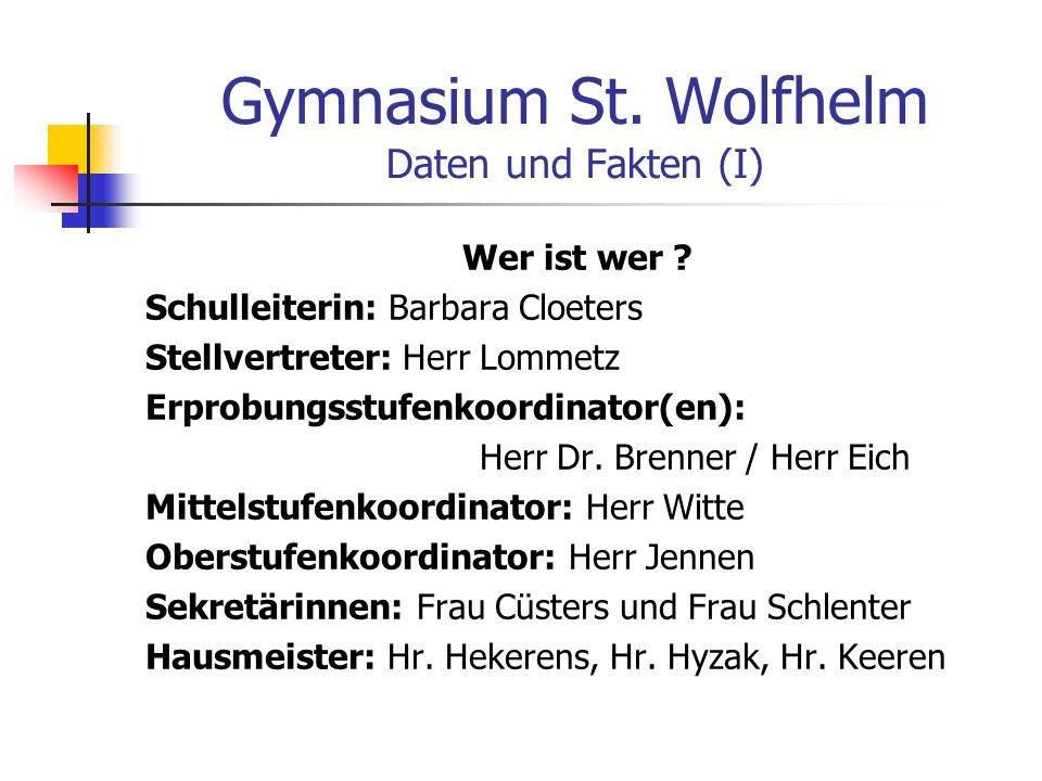 Gymnasium St. Wolfhelm Daten und Fakten (I)