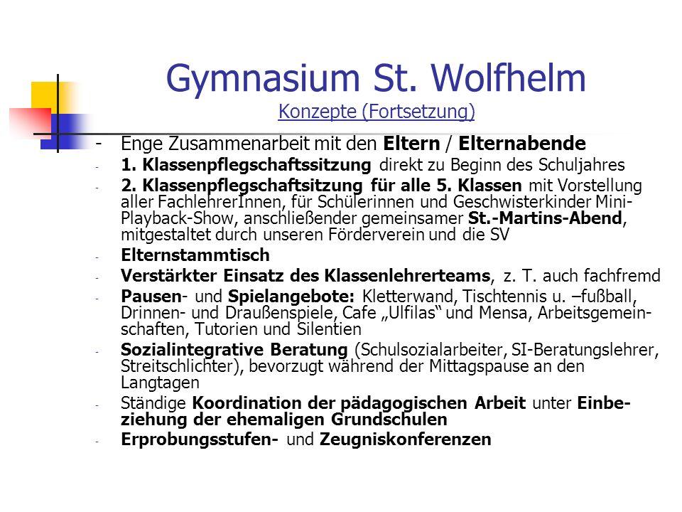 Gymnasium St. Wolfhelm Konzepte (Fortsetzung)
