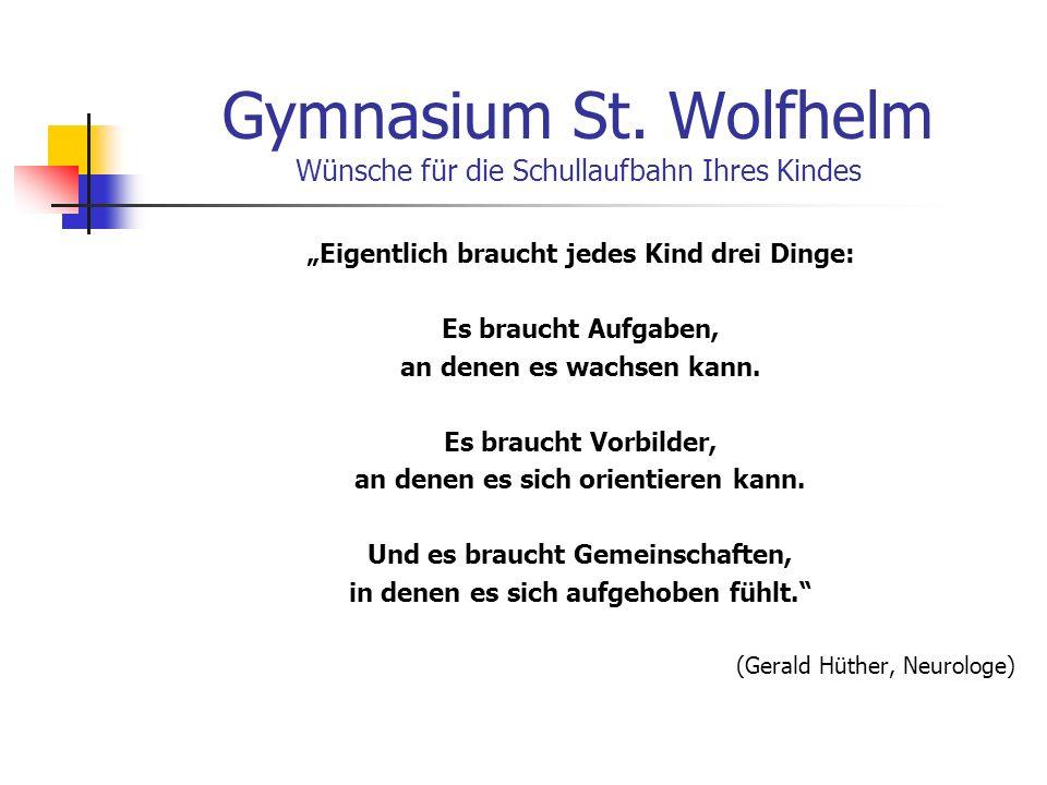 Gymnasium St. Wolfhelm Wünsche für die Schullaufbahn Ihres Kindes