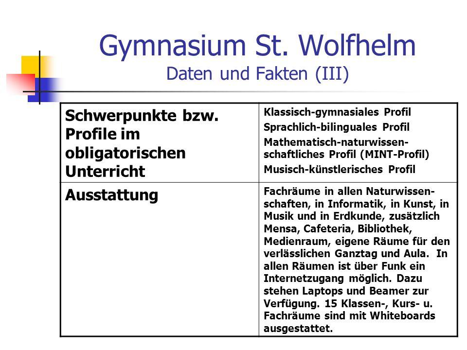 Gymnasium St. Wolfhelm Daten und Fakten (III)