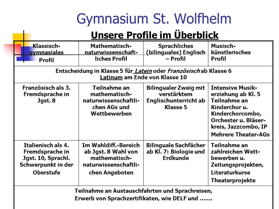 Gymnasium St. Wolfhelm Unsere Profile im Überblick
