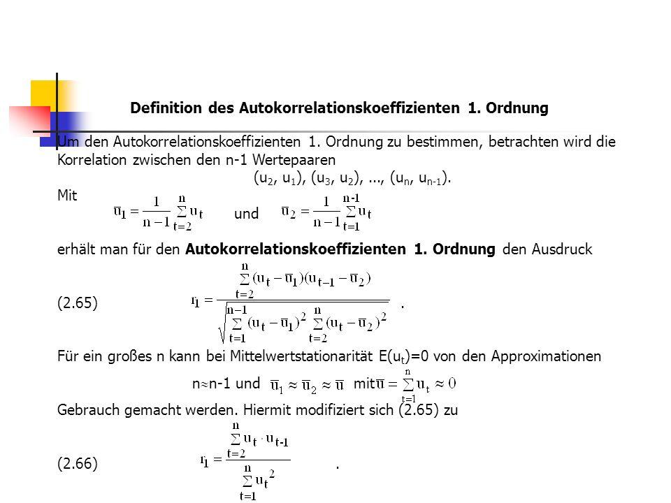 Definition des Autokorrelationskoeffizienten 1. Ordnung