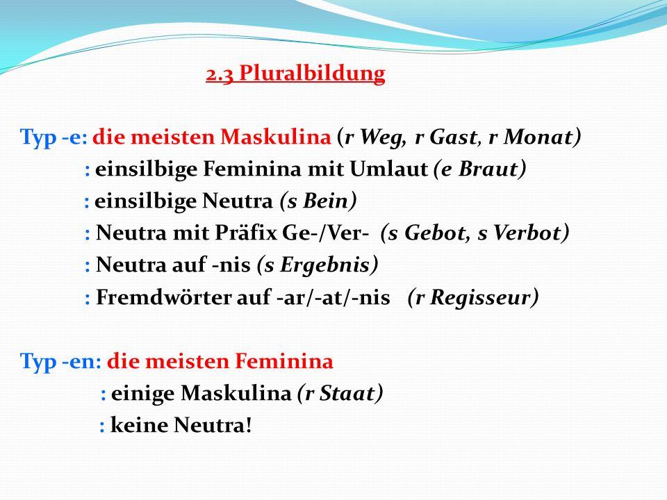 2.3 Pluralbildung Typ -e: die meisten Maskulina (r Weg, r Gast, r Monat) : einsilbige Feminina mit Umlaut (e Braut) : einsilbige Neutra (s Bein) : Neutra mit Präfix Ge-/Ver- (s Gebot, s Verbot) : Neutra auf -nis (s Ergebnis) : Fremdwörter auf -ar/-at/-nis (r Regisseur) Typ -en: die meisten Feminina : einige Maskulina (r Staat) : keine Neutra!