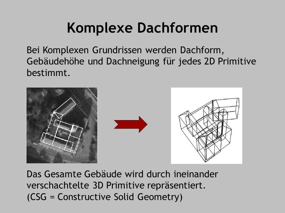 Komplexe Dachformen Bei Komplexen Grundrissen werden Dachform, Gebäudehöhe und Dachneigung für jedes 2D Primitive bestimmt.