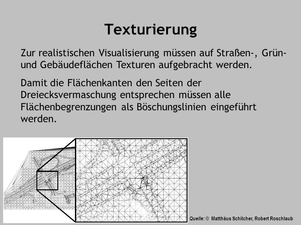 Texturierung Zur realistischen Visualisierung müssen auf Straßen-, Grün-und Gebäudeflächen Texturen aufgebracht werden.