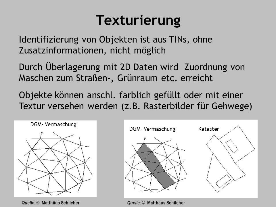 Texturierung Identifizierung von Objekten ist aus TINs, ohne Zusatzinformationen, nicht möglich.
