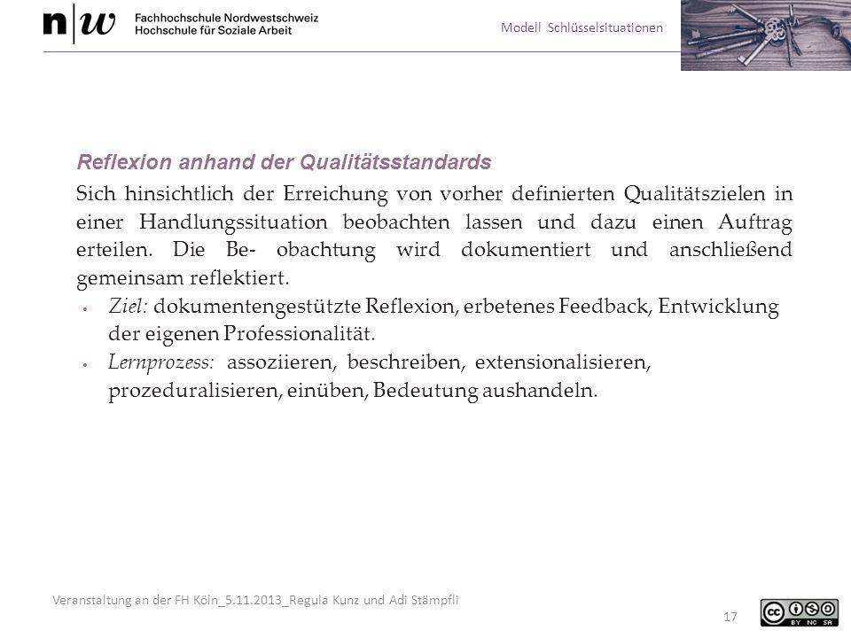 Reflexion anhand der Qualitätsstandards