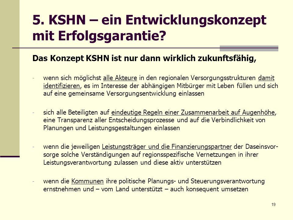 5. KSHN – ein Entwicklungskonzept mit Erfolgsgarantie