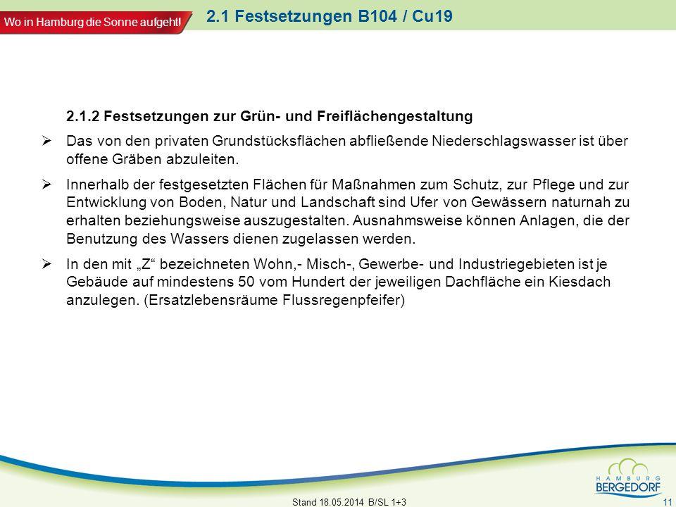 2.1 Festsetzungen B104 / Cu19 2.1.2 Festsetzungen zur Grün- und Freiflächengestaltung.