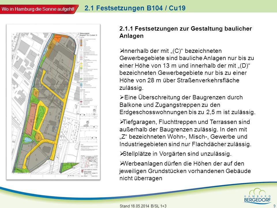 2.1 Festsetzungen B104 / Cu19 2.1.1 Festsetzungen zur Gestaltung baulicher Anlagen.