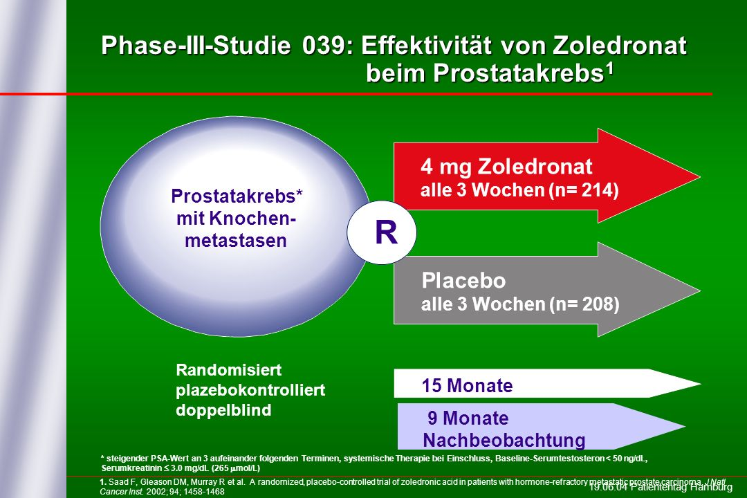 Phase-III-Studie 039: Effektivität von Zoledronat beim Prostatakrebs1
