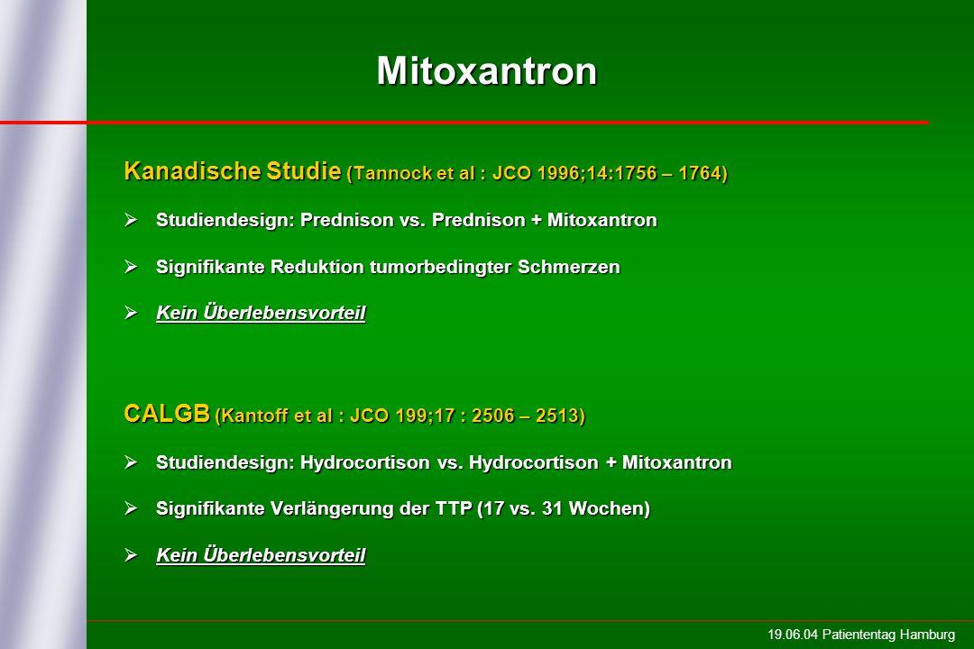 Mitoxantron Kanadische Studie (Tannock et al : JCO 1996;14:1756 – 1764) Studiendesign: Prednison vs. Prednison + Mitoxantron.