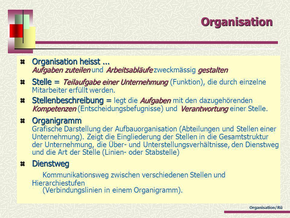 Organisation Organisation heisst ... Aufgaben zuteilen und Arbeitsabläufe zweckmässig gestalten.
