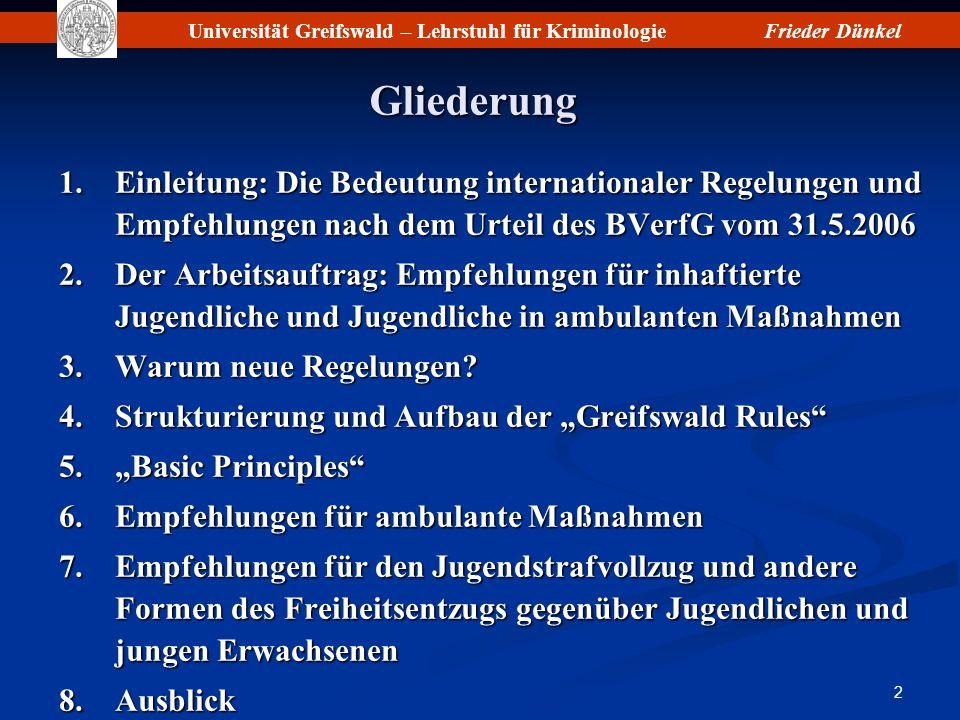 Gliederung Einleitung: Die Bedeutung internationaler Regelungen und Empfehlungen nach dem Urteil des BVerfG vom 31.5.2006.