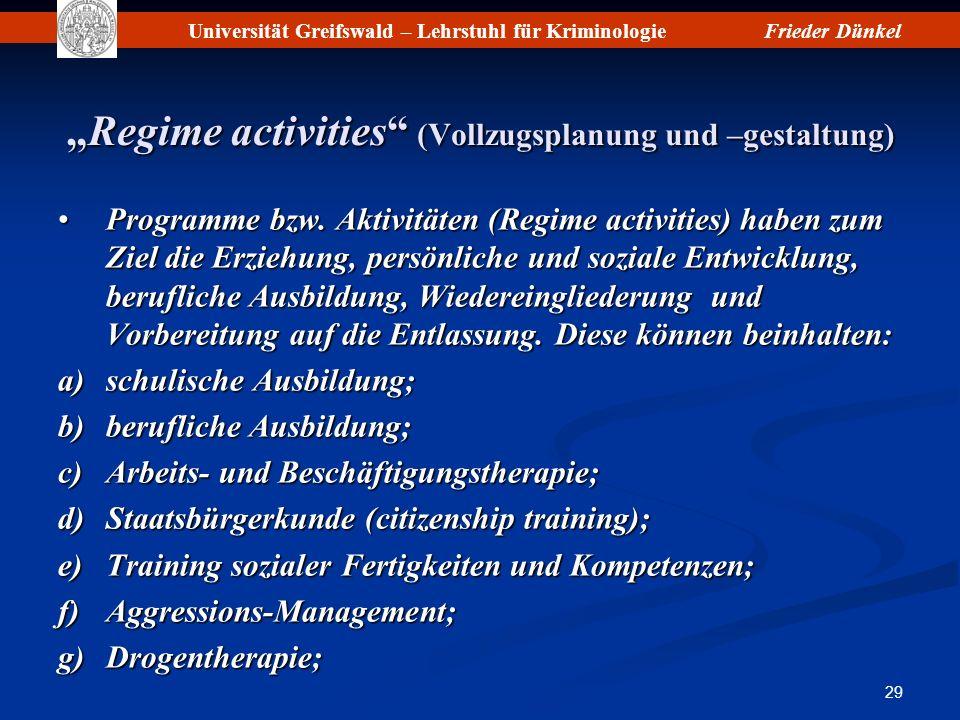 """""""Regime activities (Vollzugsplanung und –gestaltung)"""