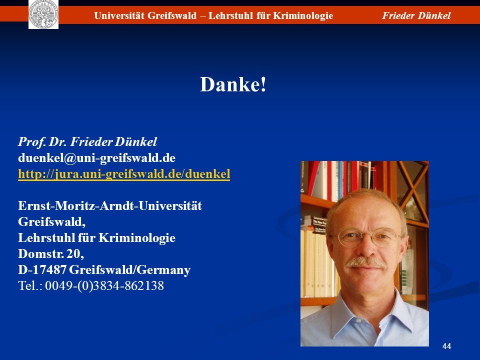 Danke! Prof. Dr. Frieder Dünkel duenkel@uni-greifswald.de