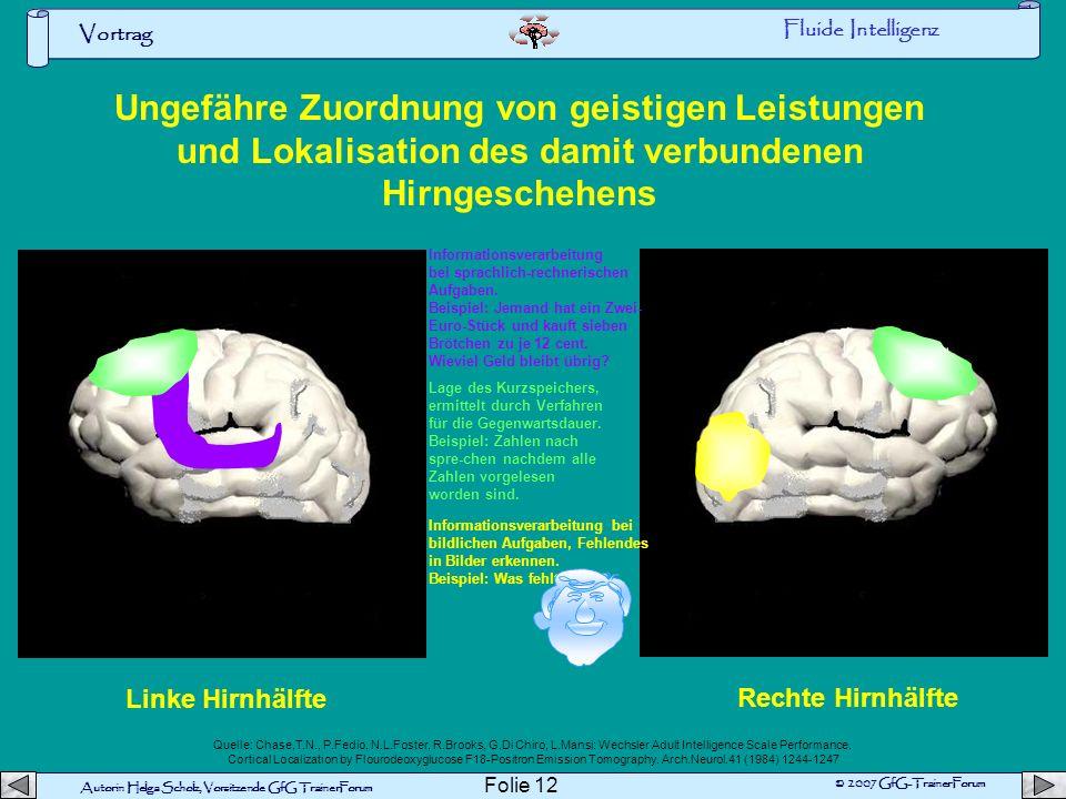 Fluide Intelligenz Ungefähre Zuordnung von geistigen Leistungen und Lokalisation des damit verbundenen Hirngeschehens.