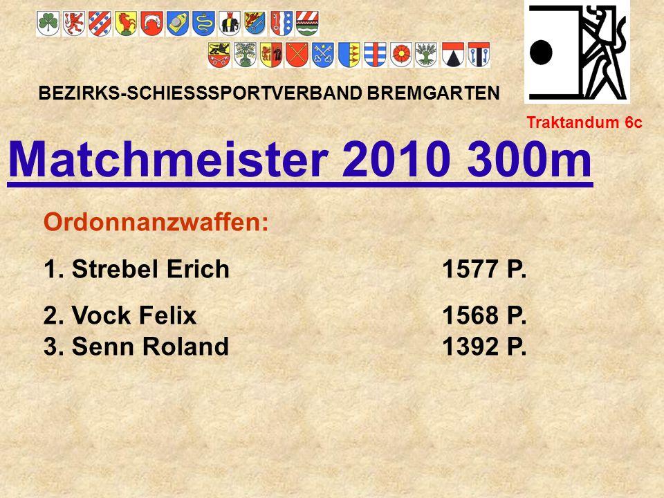 Matchmeister 2010 300m Ordonnanzwaffen: 1. Strebel Erich 1577 P.