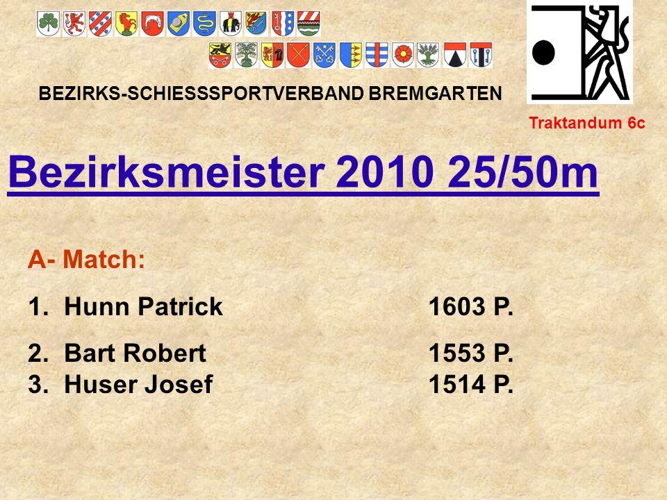 Bezirksmeister 2010 25/50m A- Match: 1. Hunn Patrick 1603 P.