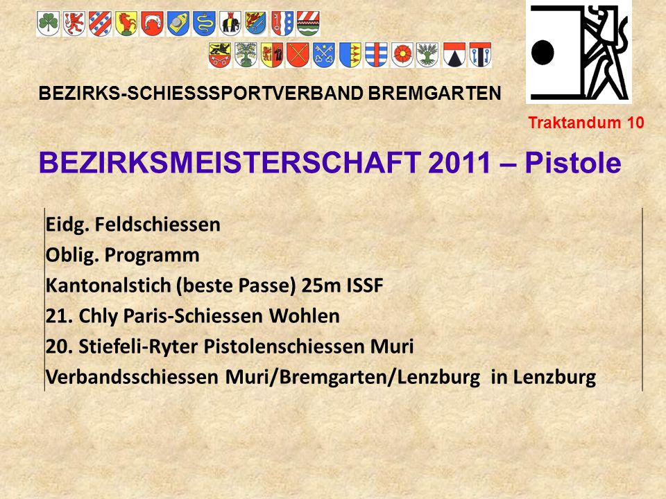 BEZIRKSMEISTERSCHAFT 2011 – Pistole