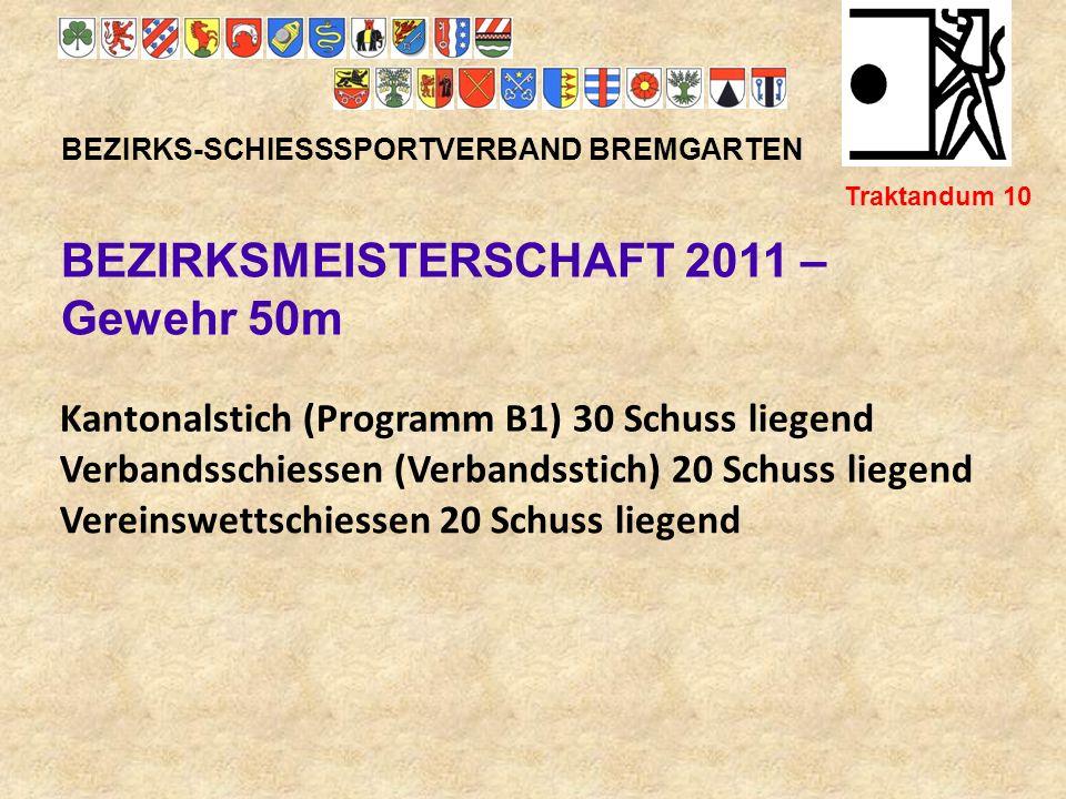 BEZIRKSMEISTERSCHAFT 2011 – Gewehr 50m