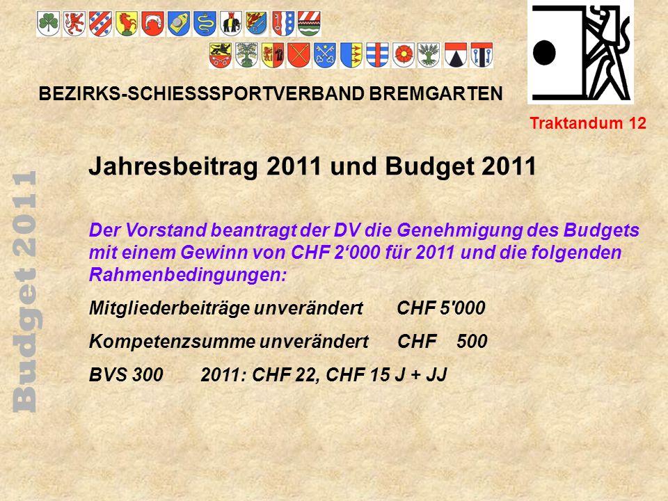 Budget 2011 Jahresbeitrag 2011 und Budget 2011