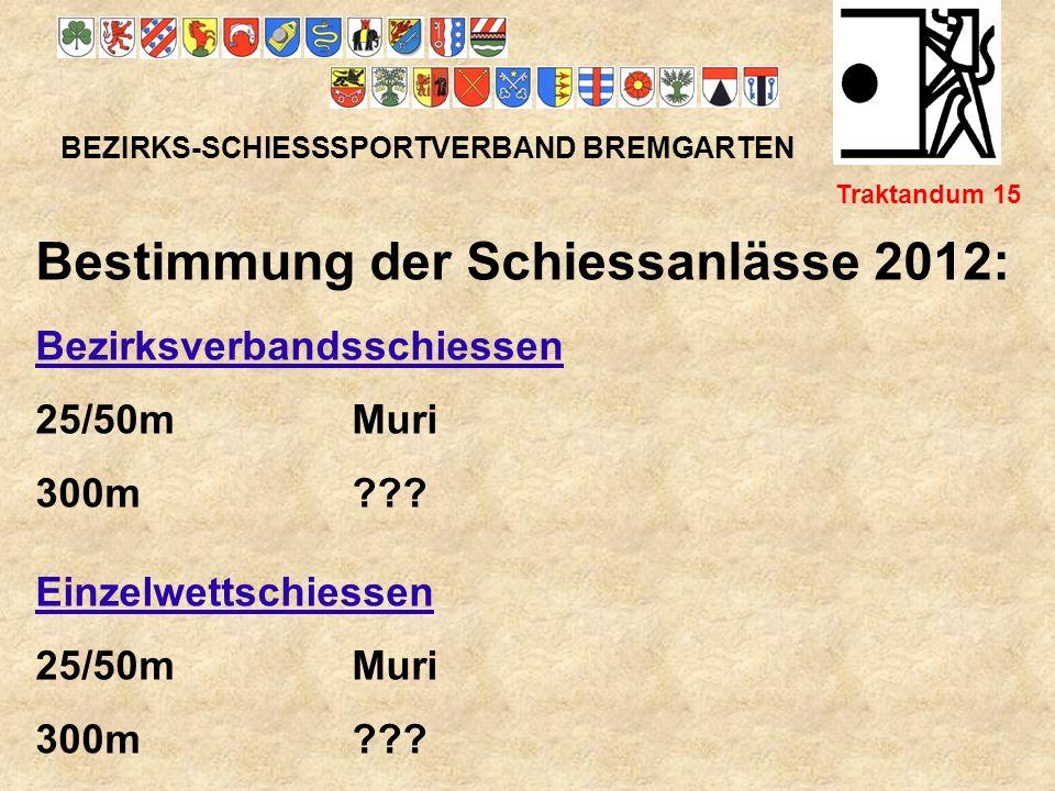 Bestimmung der Schiessanlässe 2012: Bezirksverbandsschiessen