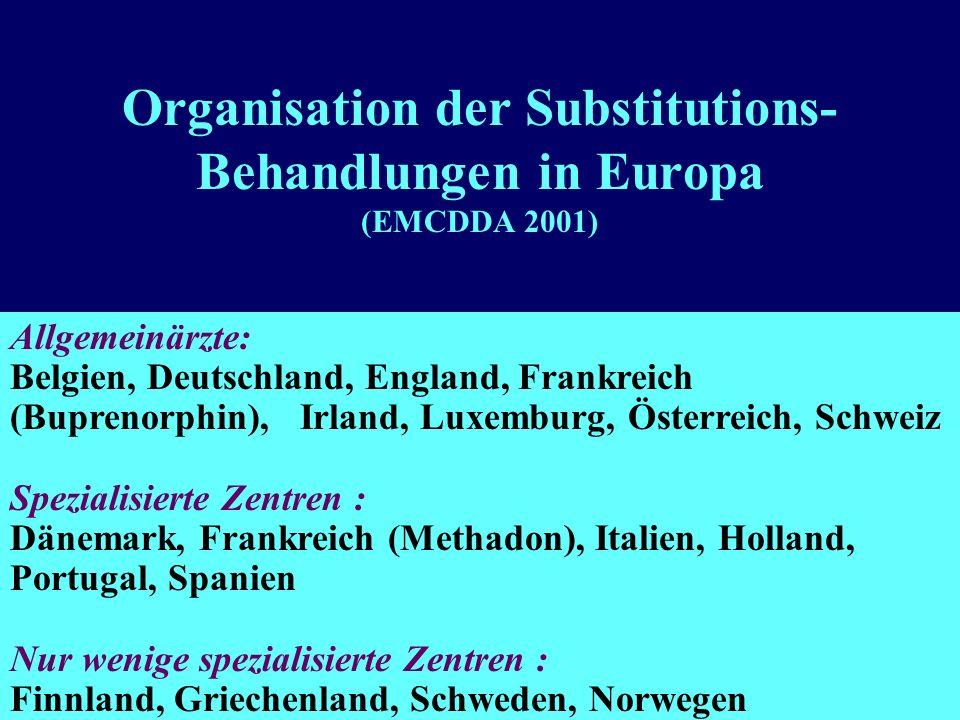 Organisation der Substitutions-Behandlungen in Europa (EMCDDA 2001)