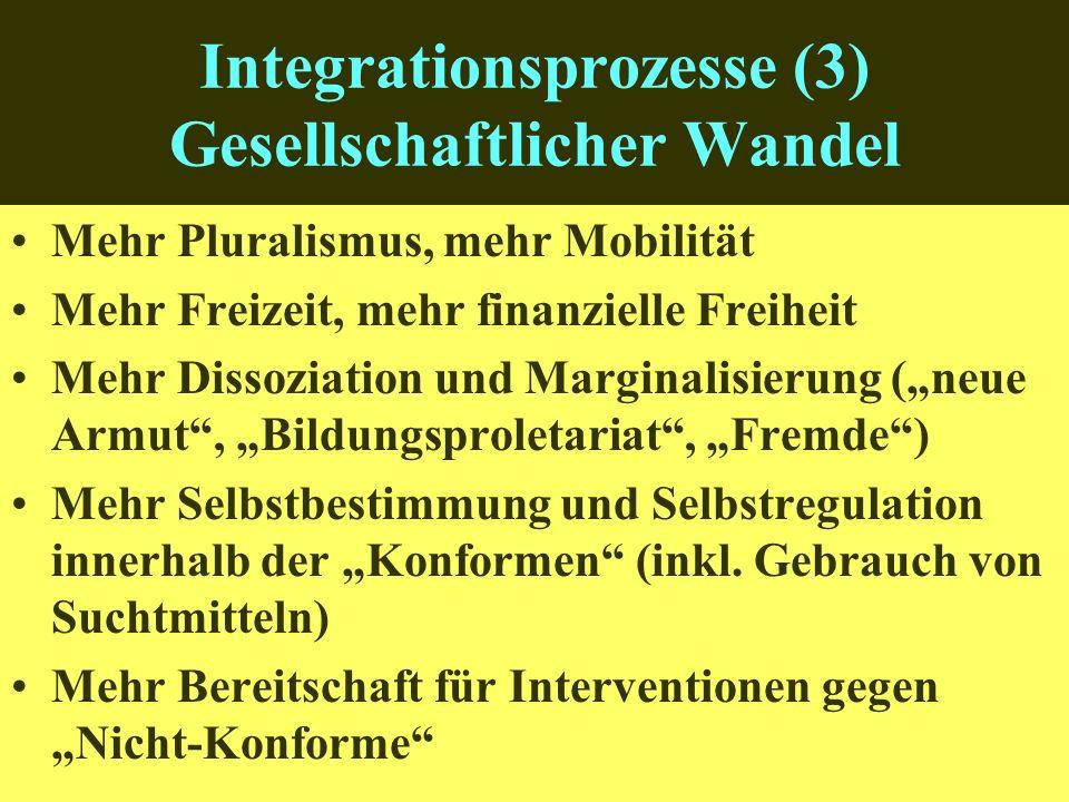 Integrationsprozesse (3) Gesellschaftlicher Wandel