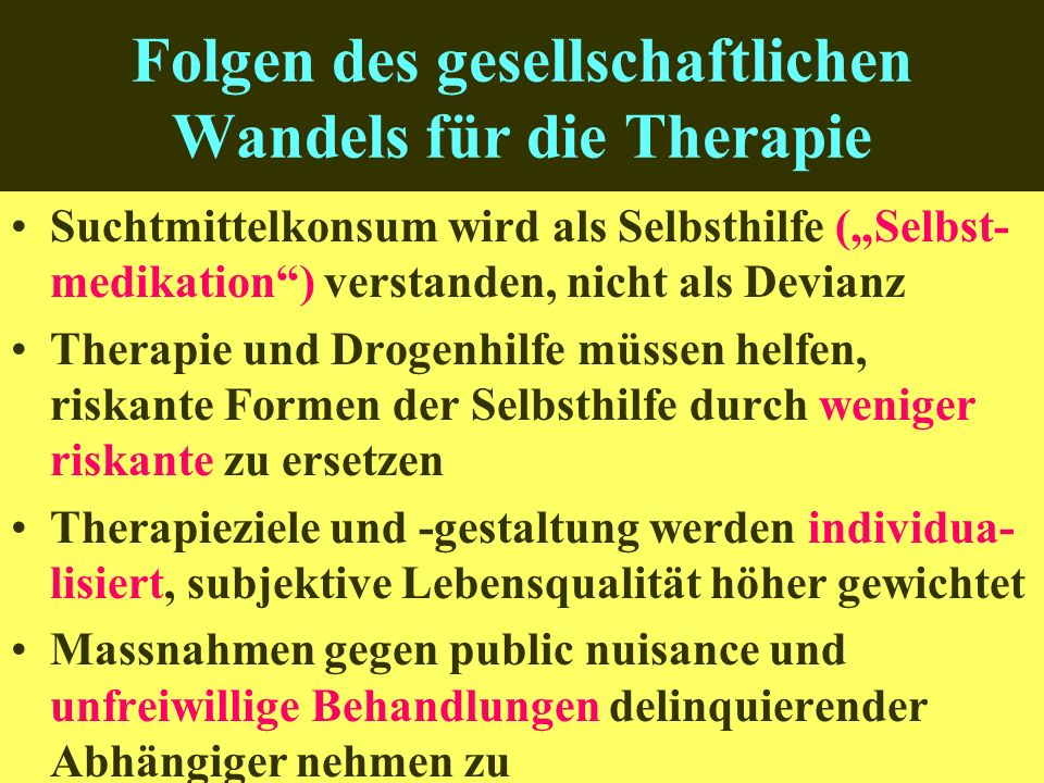 Folgen des gesellschaftlichen Wandels für die Therapie