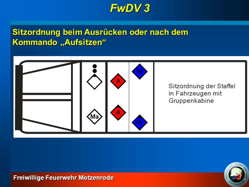 """FwDV 3 Sitzordnung beim Ausrücken oder nach dem Kommando """"Aufsitzen W"""
