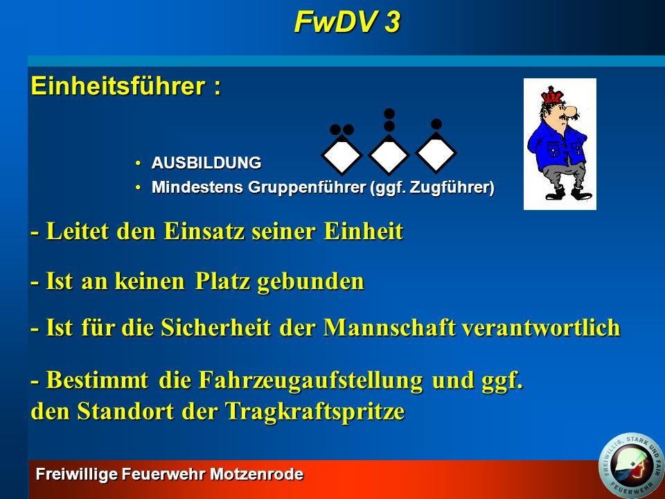 FwDV 3 Einheitsführer : - Leitet den Einsatz seiner Einheit