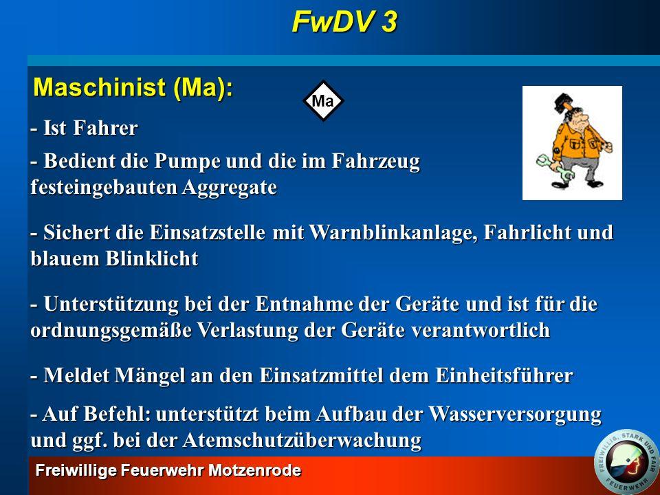 FwDV 3 Maschinist (Ma): - Ist Fahrer