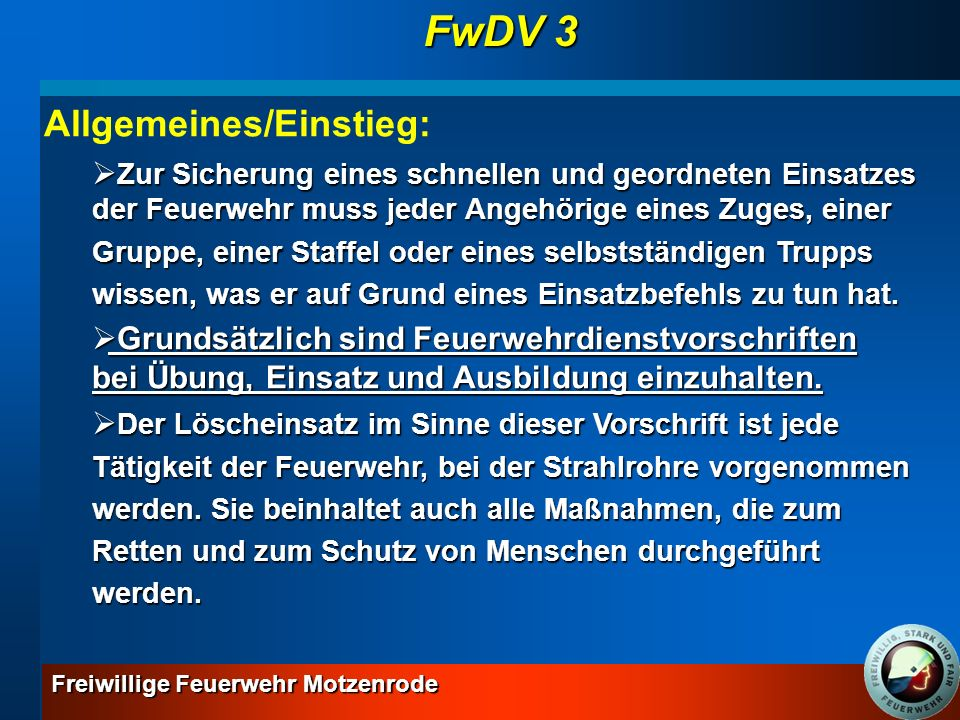 FwDV 3 Allgemeines/Einstieg:
