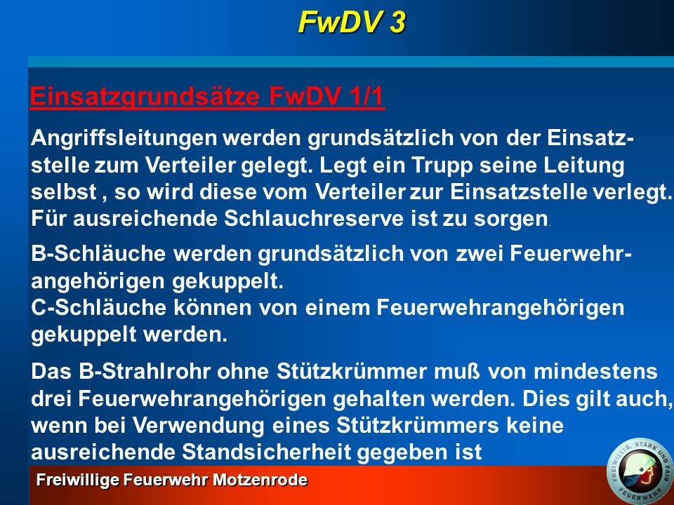 FwDV 3 Einsatzgrundsätze FwDV 1/1