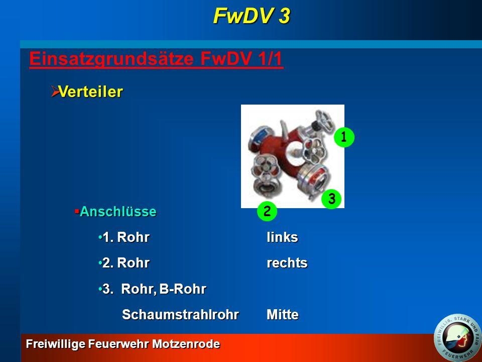 FwDV 3 Einsatzgrundsätze FwDV 1/1 Verteiler 1 Anschlüsse 1. Rohr links