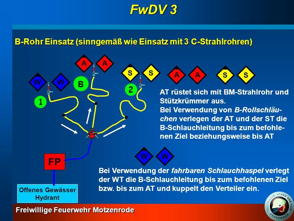 FwDV 3 FP B-Rohr Einsatz (sinngemäß wie Einsatz mit 3 C-Strahlrohren)