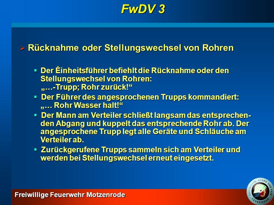 FwDV 3 Rücknahme oder Stellungswechsel von Rohren