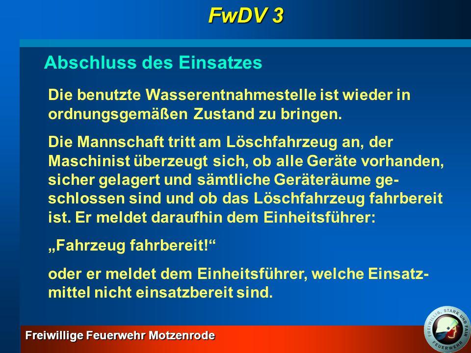 FwDV 3 Abschluss des Einsatzes