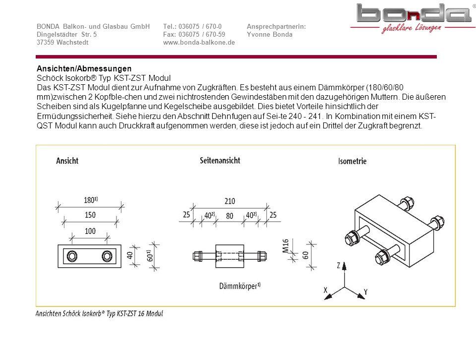 Ansichten/Abmessungen Schöck Isokorb® Typ KST-ZST Modul