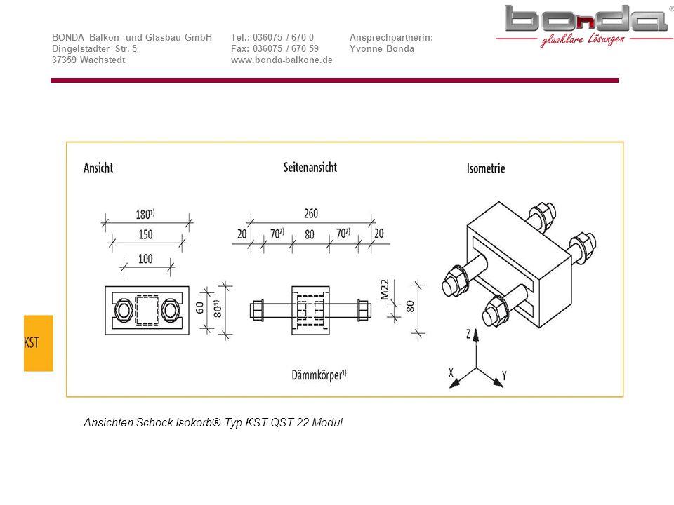 Ansichten Schöck Isokorb® Typ KST-QST 22 Modul