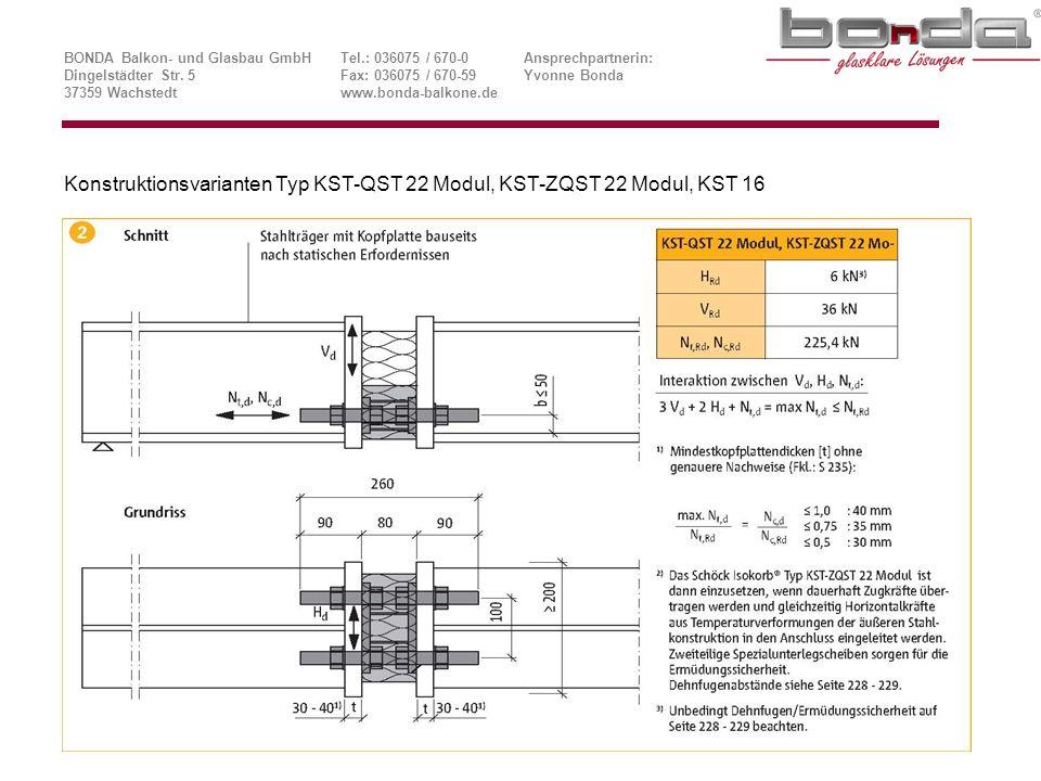 Konstruktionsvarianten Typ KST-QST 22 Modul, KST-ZQST 22 Modul, KST 16