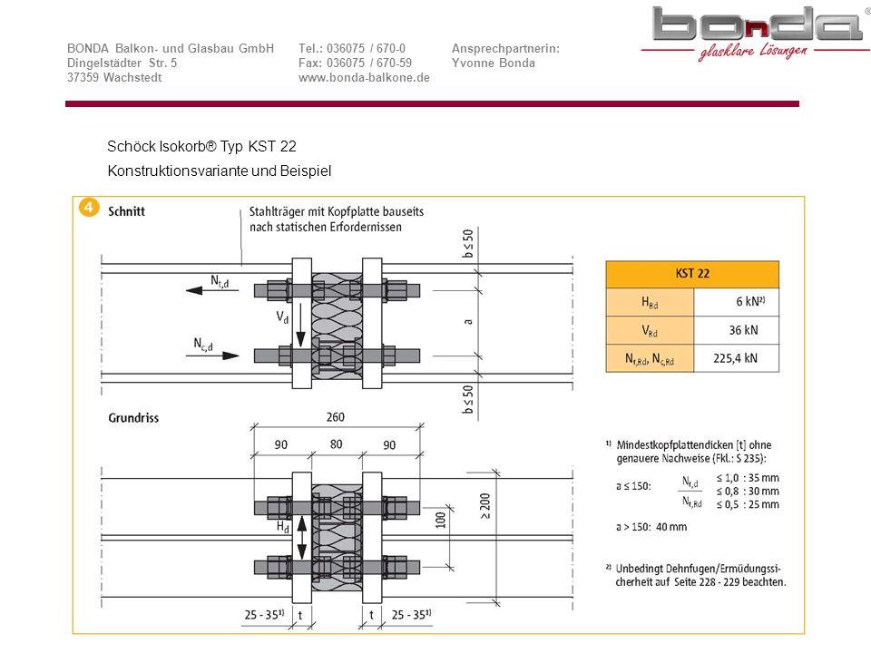 Schöck Isokorb® Typ KST 22 Konstruktionsvariante und Beispiel