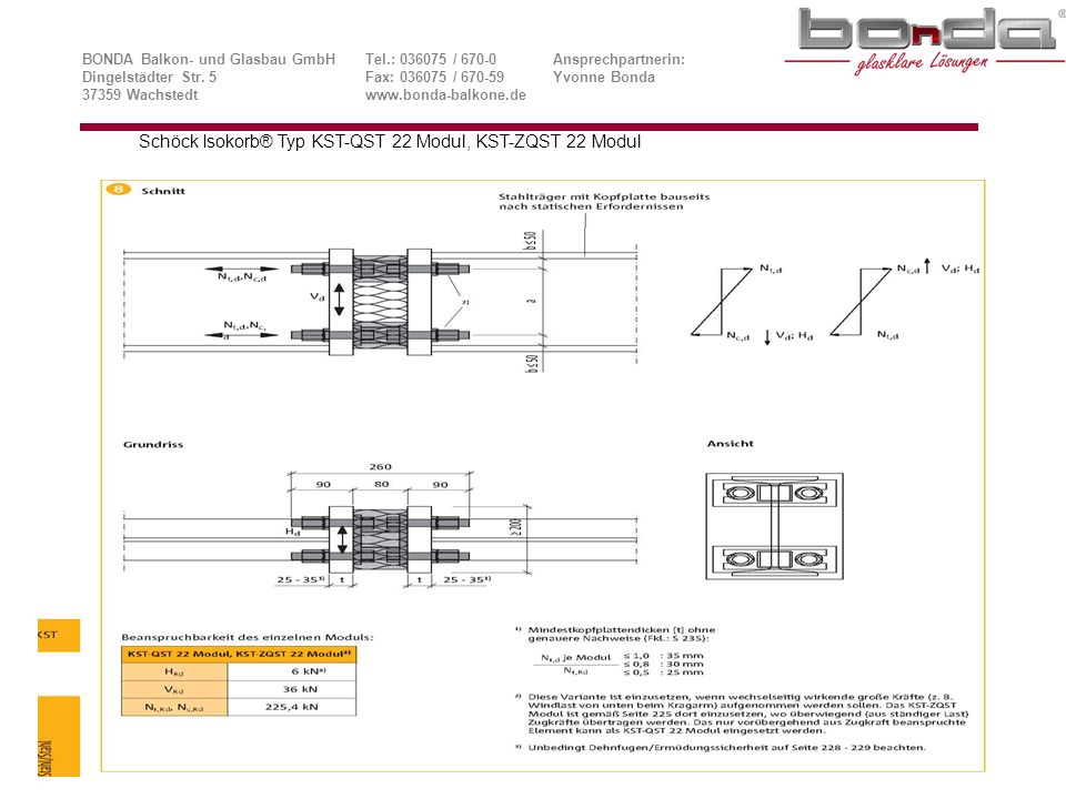 Schöck Isokorb® Typ KST-QST 22 Modul, KST-ZQST 22 Modul