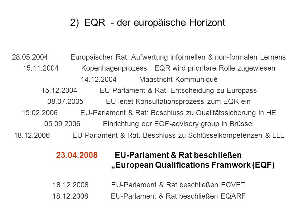 2) EQR - der europäische Horizont